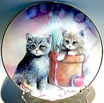 Click here to enlarge image and see more about item plkit31: Cat plate 'Playful Companions'
