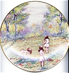Click here to enlarge image and see more about item plming77: Dominic Mingolla collector plate 'Picking Flowers' 1977