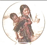 Click here to enlarge image and see more about item plngbro1: Girl with Little Brother Kee Fung Ng collector plate