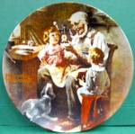 Click here to enlarge image and see more about item plroctoym: The Toy Maker Norman Rockwell vintage plate 1977