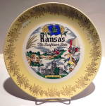 Click here to enlarge image and see more about item pltkns1: Kansas state collector vintage plate