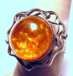 Click here to enlarge image and see more about item rngslvrmbr2: Vintage Amber sterling silver ring