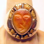 Click here to enlarge image and see more about item rnslvrivry3: Vintage Alaskan silver and gold nugget man's ring