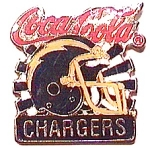 Click here to enlarge image and see more about item spm5: Coca Cola Chargers vintage football pin