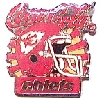 Click here to enlarge image and see more about item spm7: Chiefs vintage Coca Cola football pin