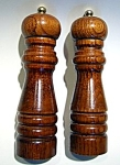 Click here to enlarge image and see more about item sps35wdn: Vintage wooden salt and pepper shakers