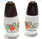 Click here to enlarge image and see more about item sps38french: Vintage French milk glass salt and pepper shakers