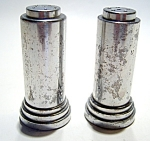 Click here to enlarge image and see more about item sps50: Vintage silver plated bullet salt & pepper shaker set