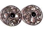 Click here to enlarge image and see more about item sse32: Silver Earrings - Onyx, Marcasite Round
