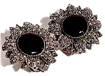 Click here to enlarge image and see more about item sse36: Onyx Marcasite sterling silver clip earrings