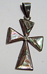Click here to enlarge image and see more about item stcrabl4: Abalone silver cross pendant