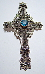 Blue topaz marcasite sterling silver large cross