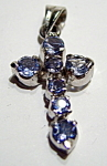 Iolite sterling silver cross pendant