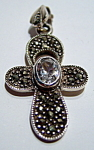 Click to view larger image of Marcasite cubic zirconia sterling silver cross pendant (Image1)