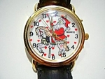 Click here to enlarge image and see more about item wwlsnta3: Santa on carousel horse vintage watch