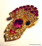 Click to view larger image of Santa Claus vintage rhinestone brooch pin (Image3)