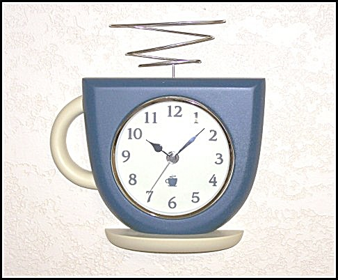 Blue Coffee Cup Kitchen Wall Clock (Image1)