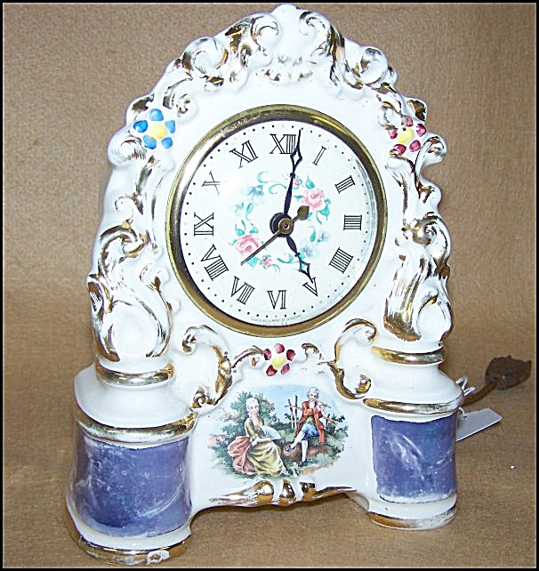 Hand Painted Porcelain Electric Clock By Sessions