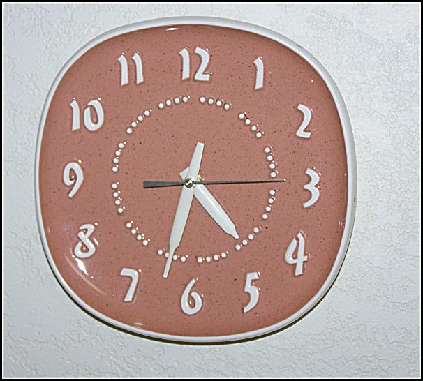 Vintage Russell Wright Salmon Color Plate Clock
