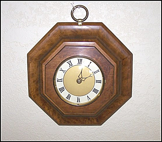 Burlwood Style Eight Sided Wood Wall Clock (Image1)