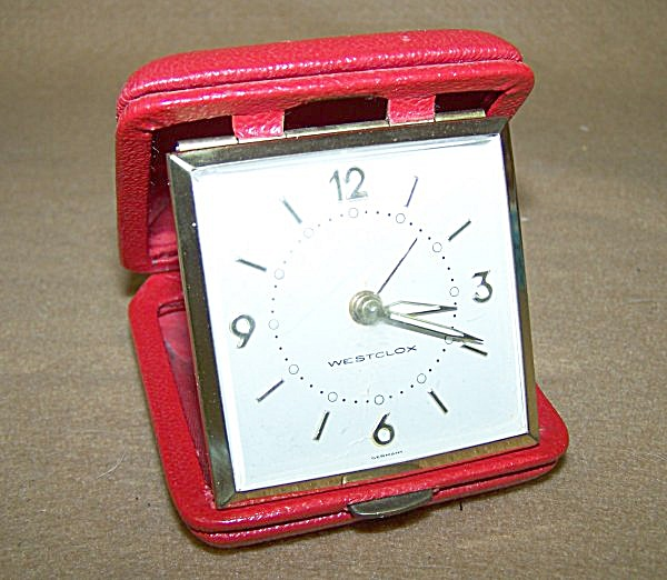 Vintage Westclock Ruby Red Travel Alarm w/Initials (Image1)