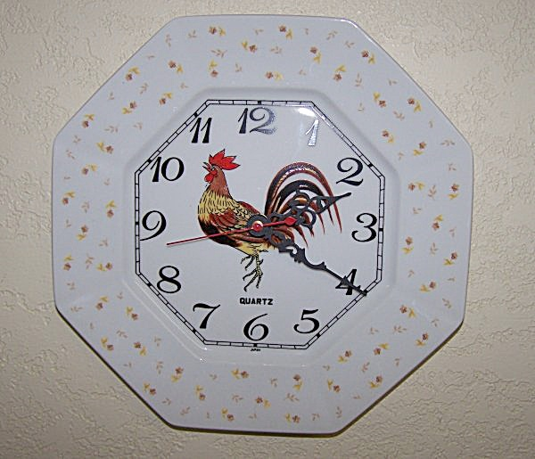 Glazed Rooster Plate Wall Clock