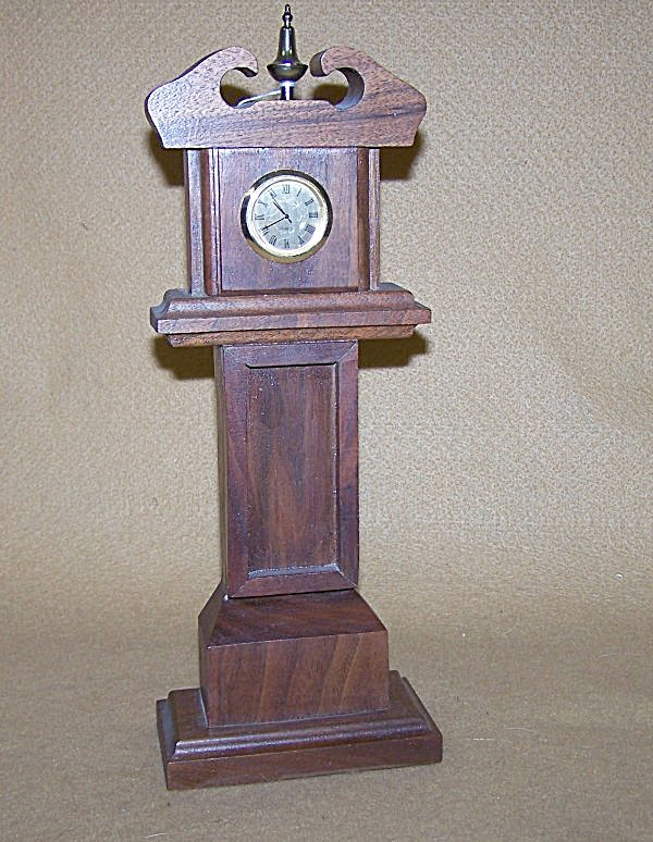 Handmade Mini Grandfather Walnut Watch Clock (Image1)