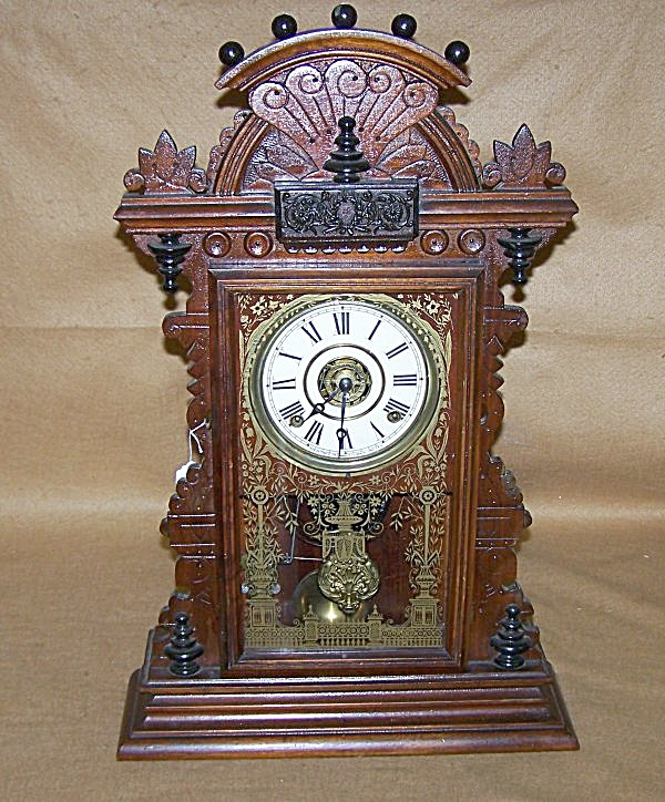 Antique 1890's Ingraham Gingerbread Chiming Clock (Image1)