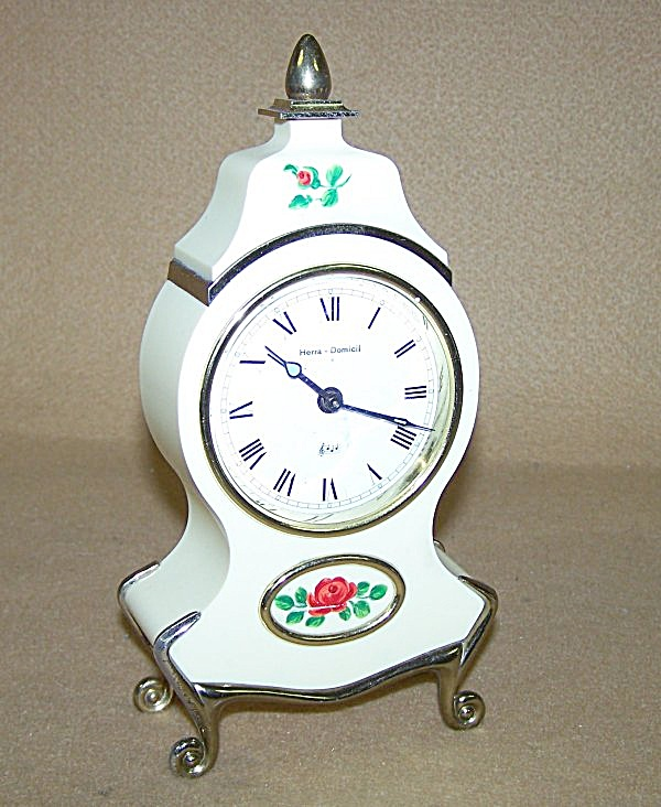Vintage Victorian Ivory Floral Music Box Alarm Clock