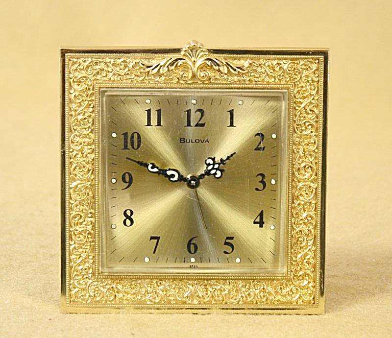 Vintage Bulova Brass Ornate Alarm Clock 2712