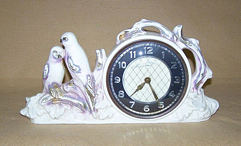 Hand Painted Love Birds Figurine Clock