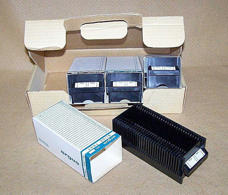 Vintage Argus 35mm Slide Trays In Storage Box