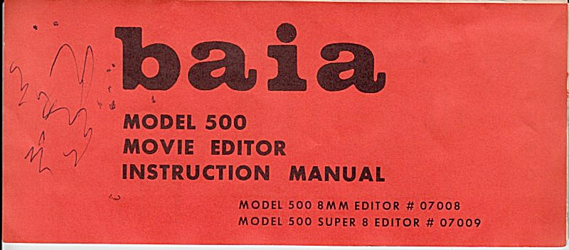 Baia Movie Editor, Mod 500 - Downloadable E-manual