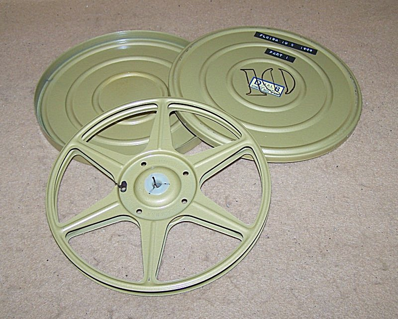 Dual 8mm Metal 7 Inch Movie Reel & Cans