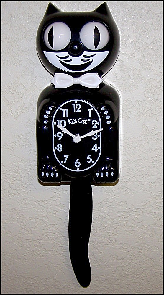 Memorable Black Kit Cat Clock Brand New (Image1)