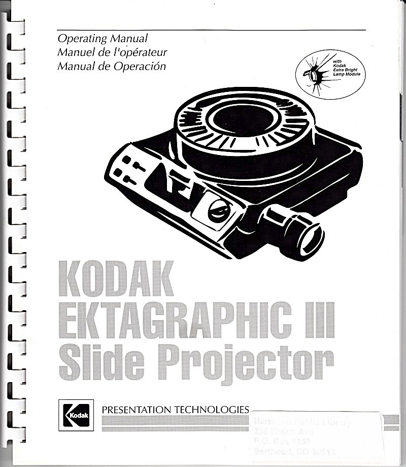 Ektagraphic Iii Slide Projector - Downloadable E-manual