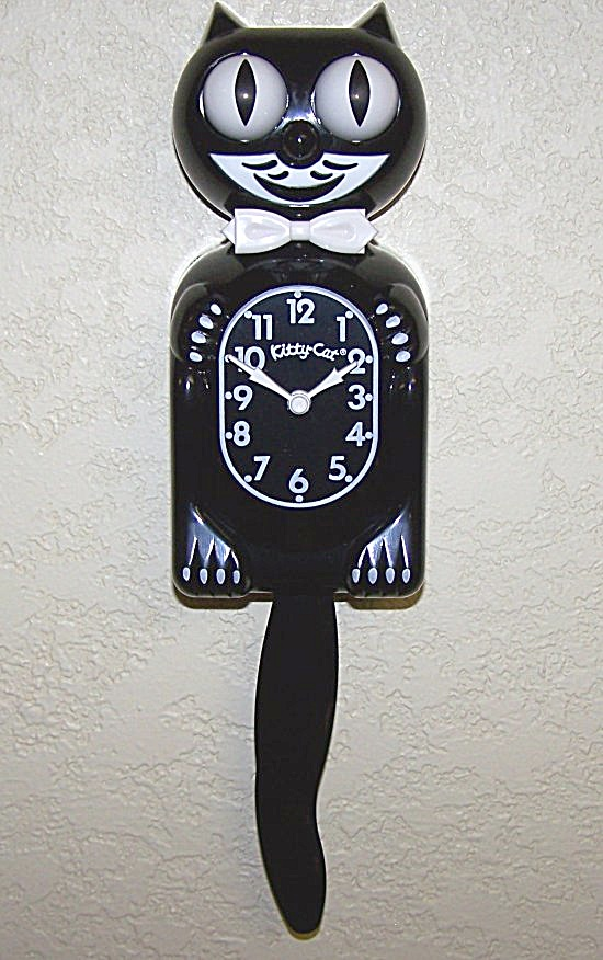 Memorable Black Mini Kit Cat Clock Brand New (Image1)