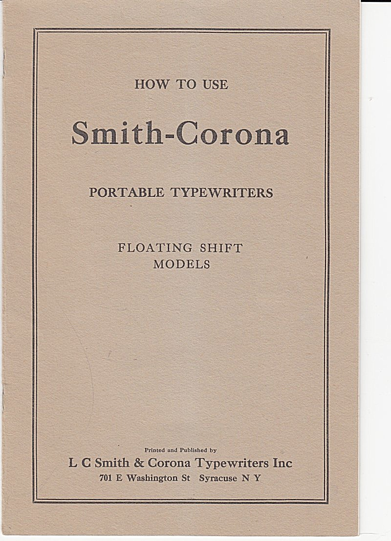Smith-corona Portable Typewriters-downloadable E-manual
