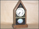 Click here to enlarge image and see more about item 1220: Vintage Walnut Wuersch Brand Steeple Clock
