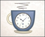 Click here to enlarge image and see more about item 1306: Blue Coffee Cup Kitchen Wall Clock