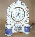 Click here to enlarge image and see more about item 1594: Hand Painted Porcelain Electric Clock by Sessions