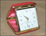 Click here to enlarge image and see more about item 1609: Beautiful Westclock Ruby Red Travel Alarm