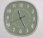 Click to view larger image of Vintage Russell Wright Green Plate Clock (Image1)