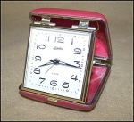 Click here to enlarge image and see more about item 1829: Beautiful Linden Ruby Red Travel Alarm