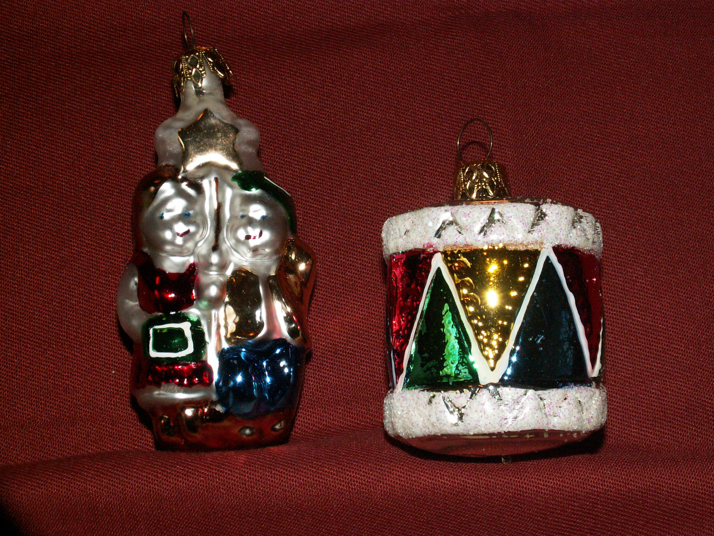 2 Vintage Mercury Glass Christmas Ornaments Drum Children With