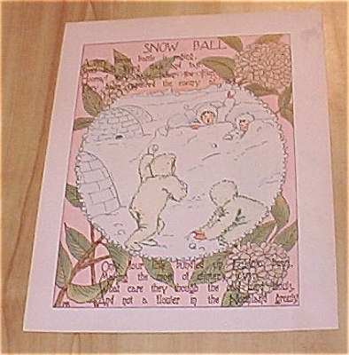 1905 Ida May Rockwell Flower Babies Book Print Snow Ball & Tuberose