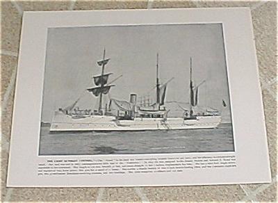 1898 Naval Ship Antique Print, USS Petrel, USS Columbia Marine Guard (Image1)