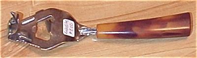 Bakelite Amber & Multi-Brown Handle Bottle Opener Can Piercer (A) (Image1)