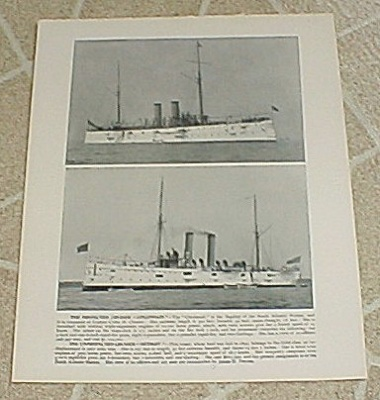 1898 Naval Ship Print, USS Cincinnati; USS Detroit; Gun Photos (Image1)