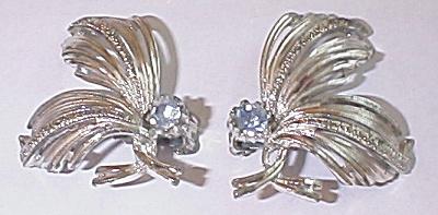 Emmons Vintage 1950s/1960s Jewelry Clip Earrings Rhinestone (Image1)